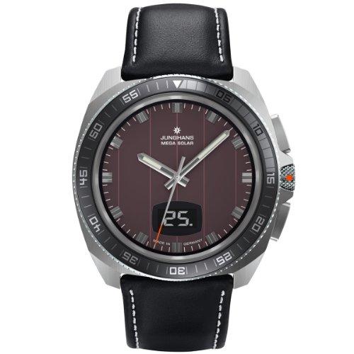 Junghans Herren-Armbanduhr XL 1972 Mega Solar Analog Quarz Leder 056/4210.00