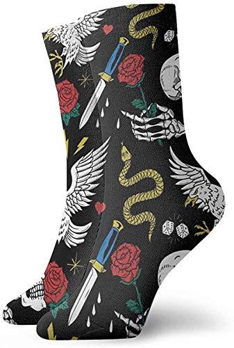Elsaone Calze modello Old School Tattoo Line Calze Uomo Donna Calze traspiranti Calzino con linguetta traspirante 30 cm / 11,8 pollici
