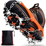 Winline Crampons Neige Antidérapants, 19 Dents Crampons de Glace Universelles Glace Traction Grips...