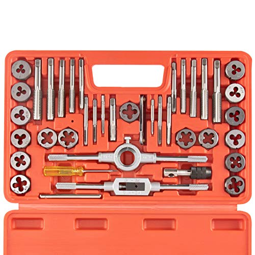 Orion Motor Tech 40-Piece Tap Die Set SAE - Home Improvement Tool Kit for Creating and Repairing Thread - Hand Tool Set for Craftsmen Mechanics and More with SAE Wrenches and Case