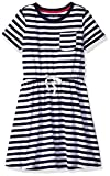 Amazon Essentials Big Girls' Short-Sleeve Elastic Waist T-Shirt Dress, Evening Stripe Navy with White Bow, L