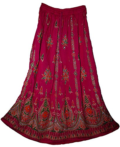 Fashion of India Womens Indian Sequin Crinkle Broomstick Gypsy Long Skirt Fuchsia