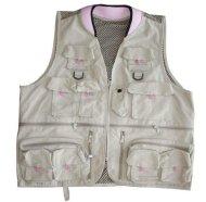 Master Sportsman Women's Alpine Fishing Vest (Khaki/Pink, Medium)