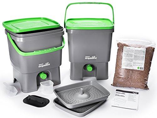 Bokashi Organico 2er Set - 2 x 16 Liter mit Ferment - Innovativer Bio Abfalleimer - Biomülleimer - Komposteimer für Küchenabfälle und Kompost (Grau/Grün)