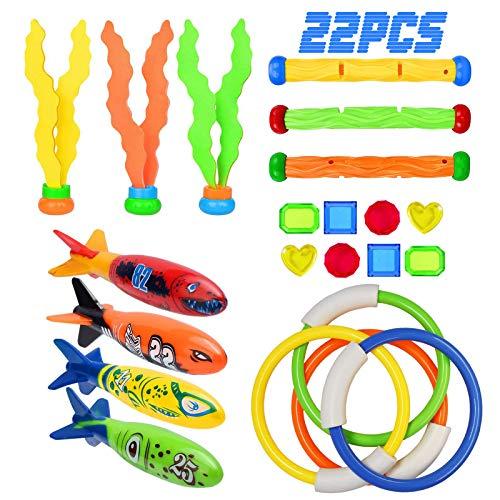 Libershine Tauchspielzeug, 22 Stücke Schwimmbad Spielzeug 4 Toypedo Bandits, 4 Tauchringe, 3 Tauchsticks, 3 Wassergras, 8 Edelsteine Sommer Spaß für Kindervon