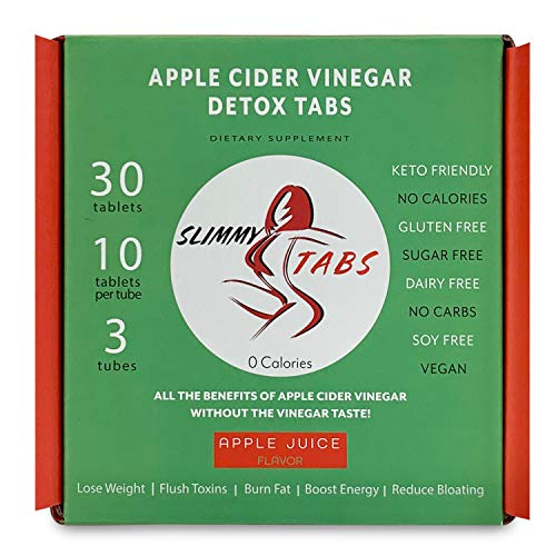 Worlds First Apple Cider Vinegar Detox and Weight Loss Effervescent Tablets by SlimmyTabs - Natural Ingredients, Organic, Vegan, Gluten-Free, Unfiltered with The Mother Tablets   Apple Juice Flavor 6