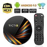 TICTID Android 9.0 TV Box 4G+64G S905X3 Quad-Core, 1000M LAN, Wi-Fi-Dual 5G/2.4G, Cortex A55 CPU, BT 4.0, USB 3.0, 8K*4K*2K Smart TV Box