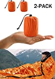 ACVCY Emergency Sleeping Bag, 2PCS Lightweight Emergency Bivy Sack Survival Compact Survival Sleeping Bag Waterproof Thermal Emergency Blanket Multi-use Survival Gear for Outdoor, Hiking, Camping