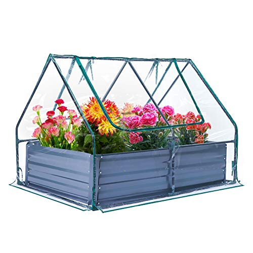 Raised Garden Bed with Durable Plastic Cover Portable and Sturdy...