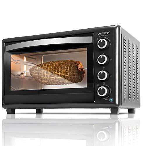 Cecotec Tisch- Umluftofen Bake&Toast Gyro - Kapazität von 46 Liter, 2000 W, 12 Modi, Temperatur bis 230ºC und Timer bis 60 Minuten, Inklusive Zangen Zubehör. (Schwarz, 750)
