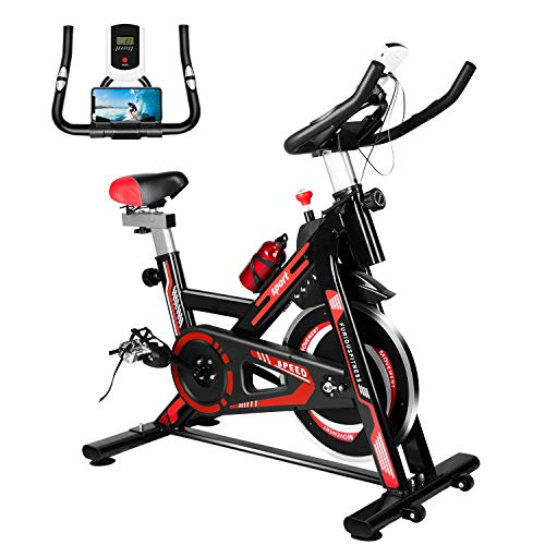 Furiousfitness Exercise Bikes, Stationary Indoor Fitness Bike Cycling with Phone Holder/LCD Display/Heart Rate Monitor, Belt Drive Flywheel Workout Bike Bicycle for Home Training, Cardio Workout
