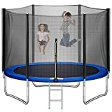 Trampoline 10FT for Kids Adults Outdoor with Ladder, LOKDOF Recreational Trampoline with Safety Enclosure Net【ASTM Approved】 Exercise Trampoline for Family Happy Time