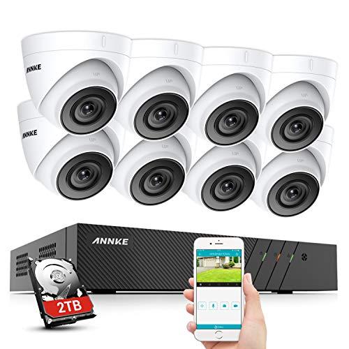 ANNKE 8CH 5MP POE Kit Videosorveglianza Sistema,6MP Onvif NVR 2TB con 5MP Ultra HD IP PoE Telecamera Esterno,EXIR Visione Notturna,H.265+ compressione video