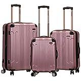 Rockland London Hardside Spinner Wheel Luggage, Pink, 3-Piece Set (20/24/28)