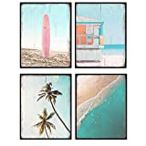 Vintage Ocean Wall Art Decor Set - 8x10 Nautical Beach House Themed Posters for Bathroom, Bath, Living Room, Bedroom, Office - Rustic, Shabby Chic Gift - UNFRAMED Sea, Surfing Home Decorations