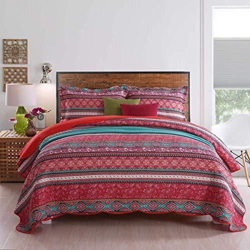 Qucover 230 x 250 cm Tagesdecke, Überwurf für Bett, Sommerdecke   Reine Baumwolle, Patchwork Stil, mit Kissenbezug inklusive
