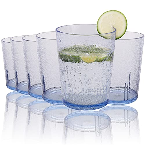 Vasos de Agua,6Pcs 365 ml Vasos Plastico Duro Reutilizable V