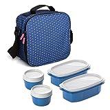 TATAY Urban Food Casual - Bolsa térmica porta alimentos con 4 tapers herméticos incluidos, 3 litros de capacidad, Azul, 22.5 x 10 x 22 cm
