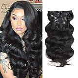 Extensiones de pelo con doble trama ondulada, cabello humano, marrón claro,...