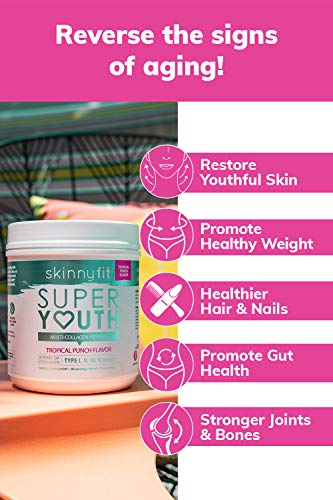 SkinnyFit Super Youth Multi-Collagen Peptide Powder Tropical Punch Flavor, Hair, Skin, Nail, Joint Support, 58 Servings 3