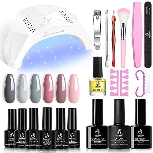 Beetles Gel Nail Polish Kit with U V Light 48W LED Nail Lamp Nude Grays Pink Gel Nail Polish Starter Kit Manicure, Soak off U V LED Gel Nail Polish Set Salon DIY Home Gel Nail Gift for Mother's Day
