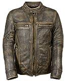 Mens Vintage Brando Biker Cafe Racer Motorcycle Leather Jacket Collection, 4) Triple Stitch Distressed Brown, X-Large