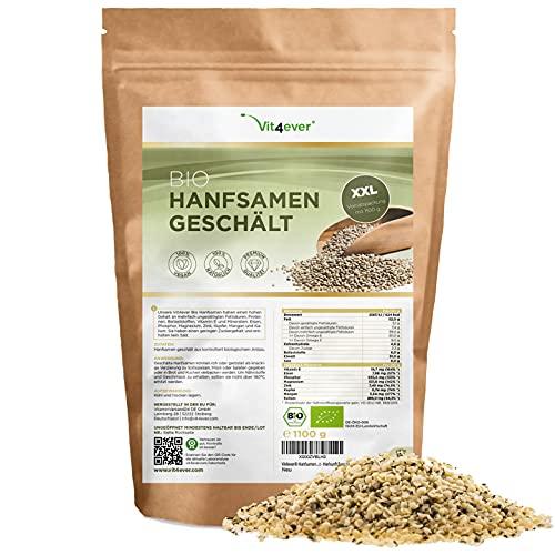 Semillas de cáñamo ecológicas descascarilladas - 1100 g (1,1 kg) - Premium: Origen Países Bajos - Fuente natural de proteínas - Ricas en ácidos grasos Omega-3 - 100% Semillas de cáñamo - Vegano