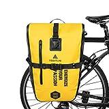 Hikenture Bike Panniers Saddle Bag 27L Waterproof Bicycle Rear Rack Bag Commuter Backpack Laptop Pannier Trunk Side Storage Cycling Pack Cargo Luggage Carrier Bike Accessories(Yellow)