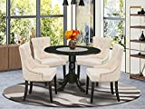 East West Furniture Nook Kitchen Table Set 5 Pc - Light Beige Linen Fabric Button-tufted Parsons Dining Room Chairs - Black Finish Solid wood drop leaves Pedestal Kitchen Table and Frame