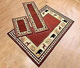 Furnishmyplace 3 Piece Wildlife Bear Moose Rustic Lodge Cabin Lodge Carpet Area Rug (Red Bear Moose Rug Set)