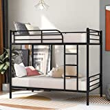 Metal Bunk Bed, Twin Over Twin Heavy Duty Bed Frame with Safety Guard Rail & Removable Ladder for Kids Teens Adults (Black)