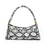 KingbeefLIU Bolso de hombro para mujer, diseño de leopardo, diseño de granos, con cremallera, color blanco
