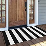 OJIA Cotton Black and White Striped Rug 24'' x 51''Hand-Woven Indoor/Outdoor Small Area Rug Layered Door Mats for Front Porch/Entryway/Laundry Room/Bedroom