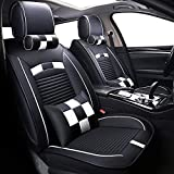 Big Ant Car Seat Covers, Leatherette Seat Covers Waterproof Breathable 5 Seats Full Set Front Back Cover 12 PCS - Fit Most Car, SUV, or Van (Black and White)
