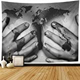 Ahawoso Tapestry Wall Hanging 80'x60' Erotic World Sweaty Upper Part Body Hands East Sex Africa Map Sexy Earth Erotica Design Home Decor Tapestries Decorative Bedroom Living Room Dorm
