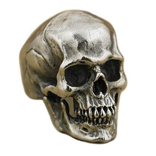 LISNION 925 Sterling Silver High Detail Skull Ring Mens Biker Punk Ring TA50 (Jewellery)