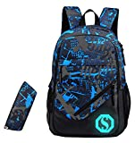 JiaYou Boy 20L Fashion School Bag Backpack with Florescent Mark 3 Sets/2 Sets(ColorF 2 Sets,20L)