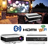 EUG Wireless Projector HD 1080P 4600 Lumen Video Projectors Outdoor Movie Android System,Airplay Miracast Wifi USB HDMI LED LCD Multimedia Projeyector for Home Theater Game Consoles Apps PC DVD
