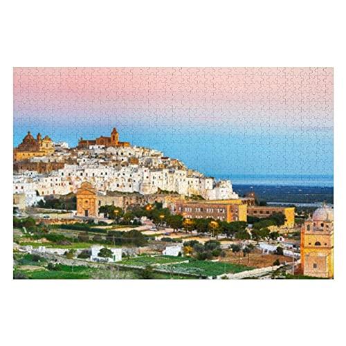 Skyline della citt bianca di Ostuni e puzzle da 1000 pezzi
