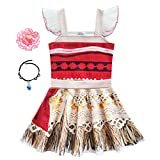 Little Girls Princess Dress Lace Ruffle Sleeve for Moana Costume Outfit with Necklace Flower For Halloween Christmas Dress Up (110 (4-5Y), Red)
