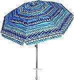 AMMSUN 7ft Heavy Duty Windproof Portable Beach Umbrella with Sand Anchor,Adjustable Height with Tilt Aluminum Pole, Portable UV 50+ Protection Carry Bag for Patio Garden Beach Pool Backyard