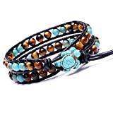 Leather Wrap Cuff Bracelet Turtle Turquoise and Tiger Eye Beads Handmade Bangle Boho Wristband for Men Women