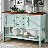 P PURLOVE Console Table Buffet Sideboard with Storage Drawers Cabinets Bottom Shelf (Retro Blue)