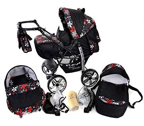 Kamil, 3-in-1 Travel System con carrozzina, seggiolino auto, passeggino sportivo e accessori NO RUOTE GIREVOLI (3-in-1 Travel System, nero, fiori colorati)