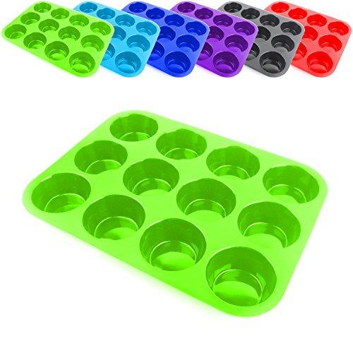 Belmalia Teglia per Muffin, Silicone, 33 x 25 x 3 cm, 12 Stampi, Rivestimento Antiaderente Cupcake Brownie Budino Verde