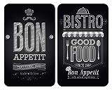 WENKO Plaque de protection en verre universel Bon Appétit - lot de 2, pour tous...
