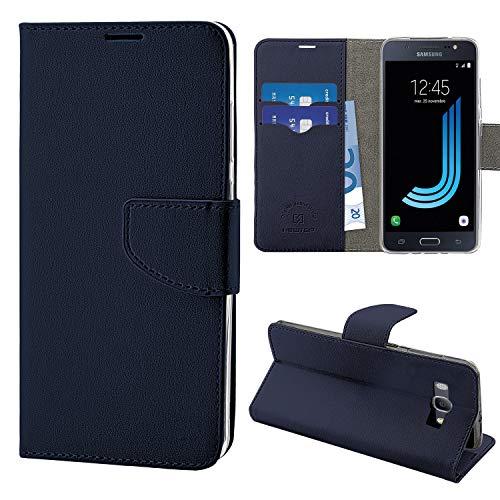 N NEWTOP Cover Compatibile per Samsung Galaxy J5 (2016) J510, HQ Lateral Custodia Libro Flip Chiusura Magnetica Portafoglio Simil Pelle Stand (Blu)