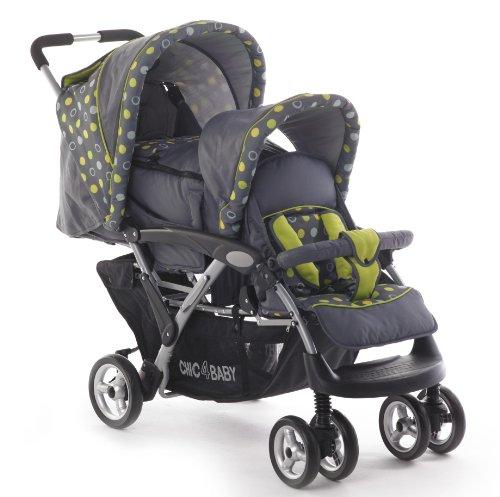 CHIC 4 Baby Duo Kinderwagen | Vergrendelbare dubbele zwenkwielen | Grote luchtbanden met parkeerrem | Verstelbare rugleuningen | Afneembare voorkap | 5-puntsgordels | Met babydraagtas en regenhoes