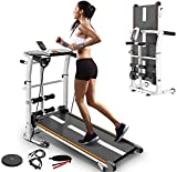 Folding Treadmill,4-in-1 Compact Manual Walking Treadmill with Resistance Bands/Waist Twisting Disc/Sit-Ups Exercise Bar Shock Absorption&Incline Indoor Running Machine for Home (White)