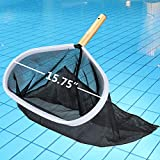 Homga Swimming Pool Skimmer, Pool Leaf Skimmer Rake with Aluminum Frame Handle for Pool, Spa, Hot Top, Fountain, Pond Removing Leaves & Debris